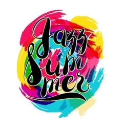 Hashtag Jazz Summer on Spot Background yellow and vector image