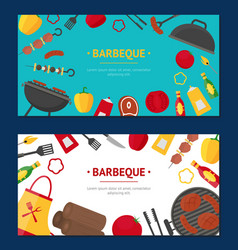barbecue and grill banner horizontal set vector image vector image