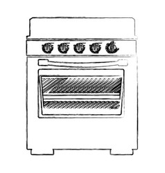 Blurred silhouette of stove with oven vector