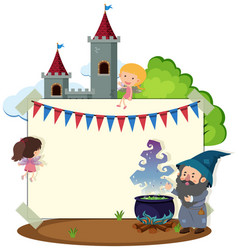 border template with wizard and fairies vector image