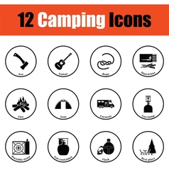Camping icon set vector image vector image