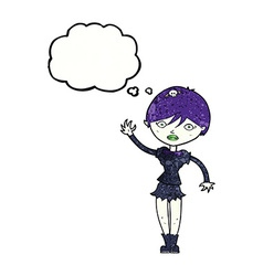 Cartoon vampire girl waving with thought bubble vector