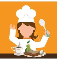 Chracter girl chef breakfast healthy food spoon vector