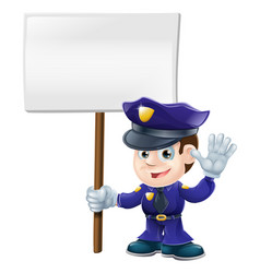cute police man with sign vector image vector image