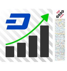 Dashcoin growing trend flat icon with bonus vector