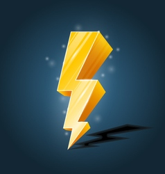 Golden forked lightning icon with sparkles vector image