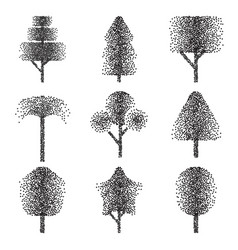 halftone trees collection vector image