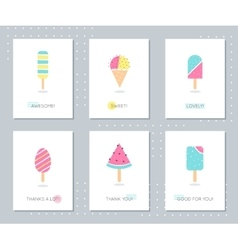 Ice-Cream and Popsicle on Sticks Cards Set vector image