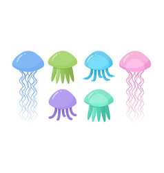 jellyfish flat icon set vector image