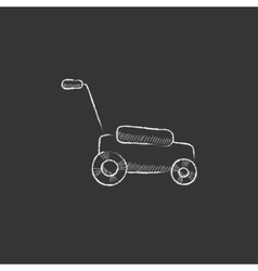 Lawnmover Drawn in chalk icon vector image