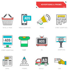 Line icons of advertising marketing product vector