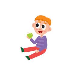 Little preschool kindergarten boy sitting on vector