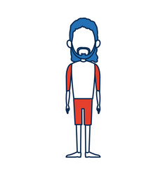 man character standing bluehair and orange clothes vector image vector image