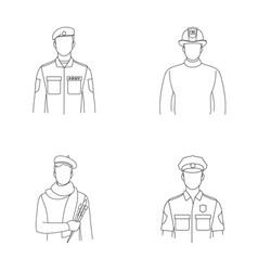 Military fireman artist policemanprofession vector