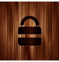 Padlock web icon Wooden texture vector image