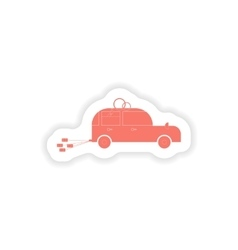 Paper sticker on white background bridegroom car vector
