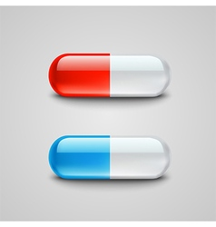 Photorealistic blue and red pills vector