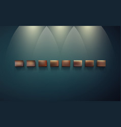 row of shelves for displaying on dark wall vector image vector image