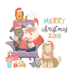 Santa claus sitting in armchair wih dogs vector
