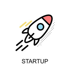 startup rocket graphic icon vector image vector image