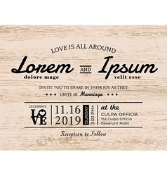 Vintage typography wedding invitation card design vector