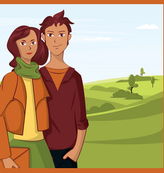 young couple cartoon in park with trees and sky vector image vector image
