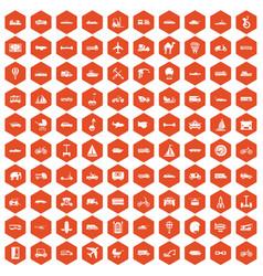 100 transport icons hexagon orange vector image vector image
