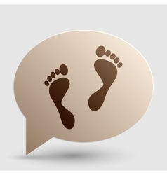 Foot prints sign brown gradient icon on bubble vector
