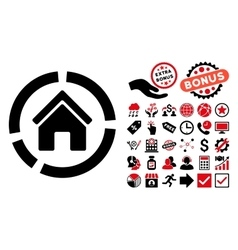 Realty diagram flat icon with bonus vector