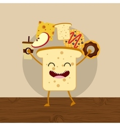 Delicious and nutritive breakfast character vector