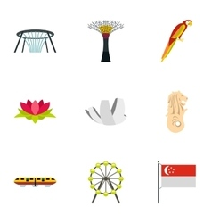 Tourism in singapore icons set flat style vector
