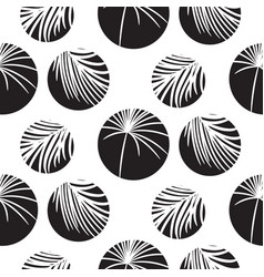 Silhouette circles and palm leaves black seamless vector