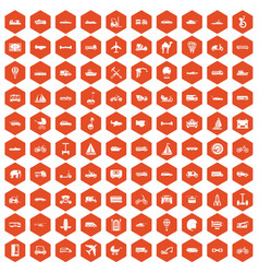 100 transport icons hexagon orange vector image