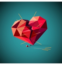 Broken heart with acupuncture needles vector