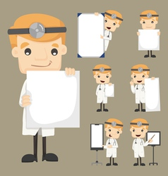 Set of doctor holding blank notes characters poses vector