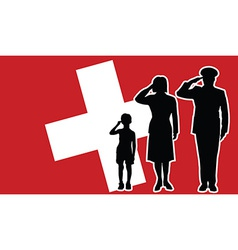 Switzerland soldier family salute vector