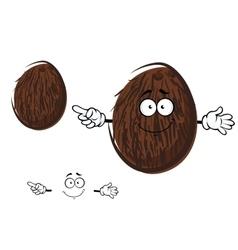 Cartoon cheerful coconut fruit character vector image