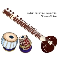 Indian musical instruments - sitar and tabla vector
