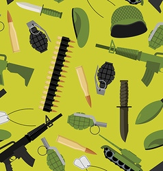 Military seamless pattern army background objects vector