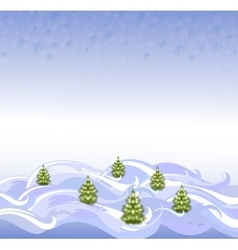 The background landscape with christmas trees and vector