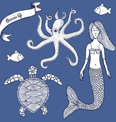 Sketch Marine set with mermaid vector image