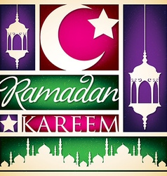 Paper cut out ramadan kareem generous ramadan card vector