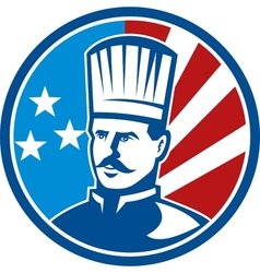 American Chef cook baker with stars and stripes vector image vector image