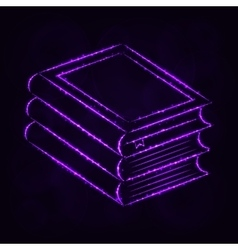 Books silhouette of lights on dark background vector image