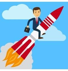Businessman on rocket vector image