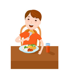 Cute cartoon small boy dined at the table vector