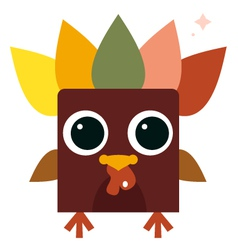Cute retro colorful Turkey isolated on white vector image