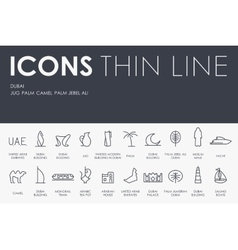 Dubai Thin Line Icons vector image vector image