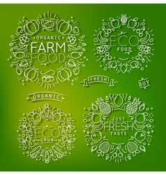 Farm elements green vector image vector image