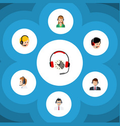 Flat center set of hotline secretary call center vector